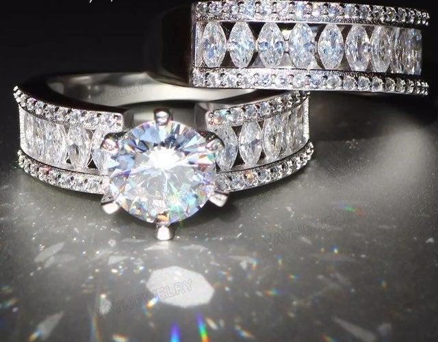 2pcs set 925 silver wedding ring