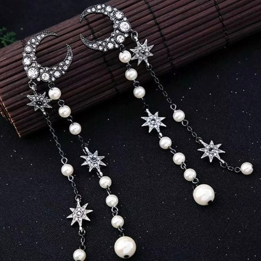 """BJ 5"""" Grey Crystal Moon & Star Earrings"""