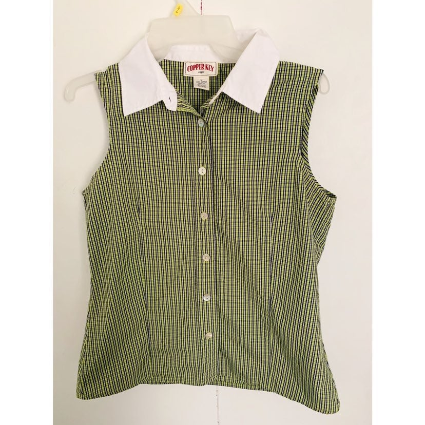 Copper key green plaid button down tank