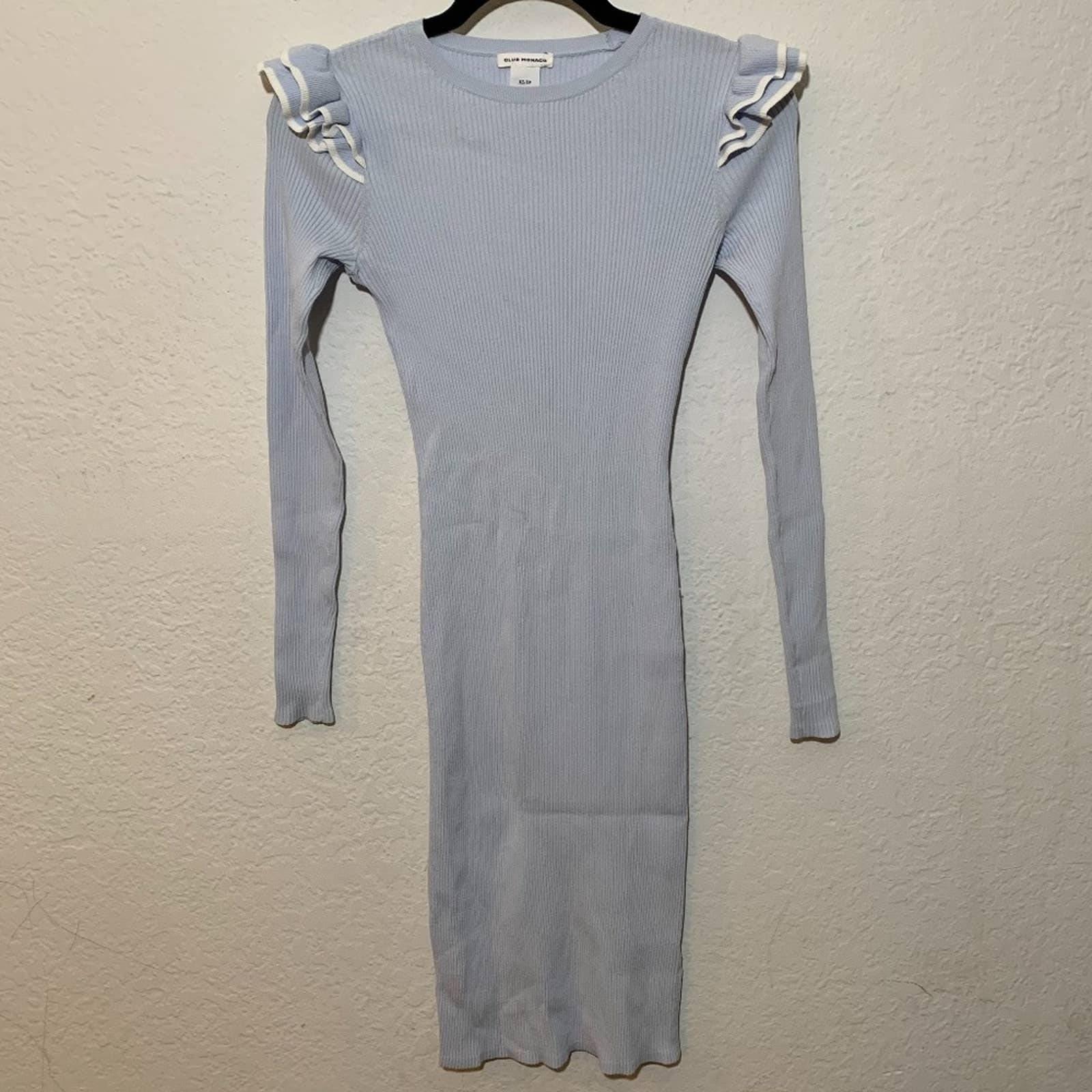 Club Monaco Long Sleeve Ribbed Dress