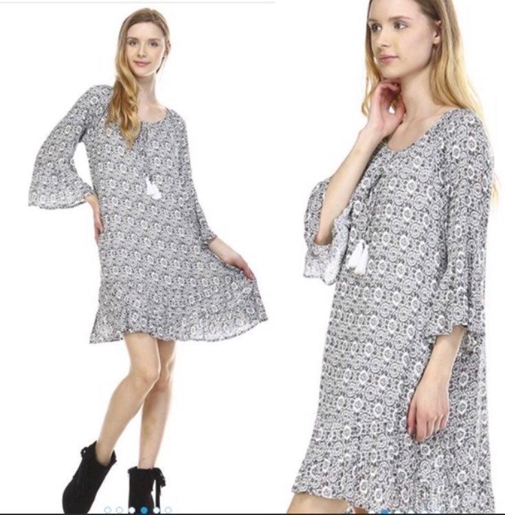 NWT Tie front tassel boho dress M