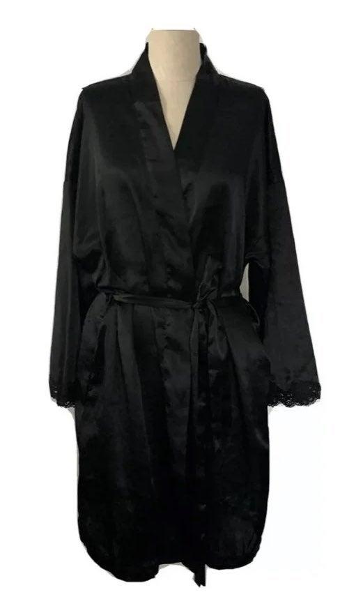 VICTORIA'S SECRET M/L BLACK SATIN Robe