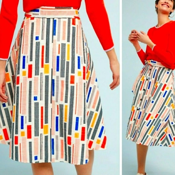 Anthropologie Hutch Multicolor Skirt Sz0
