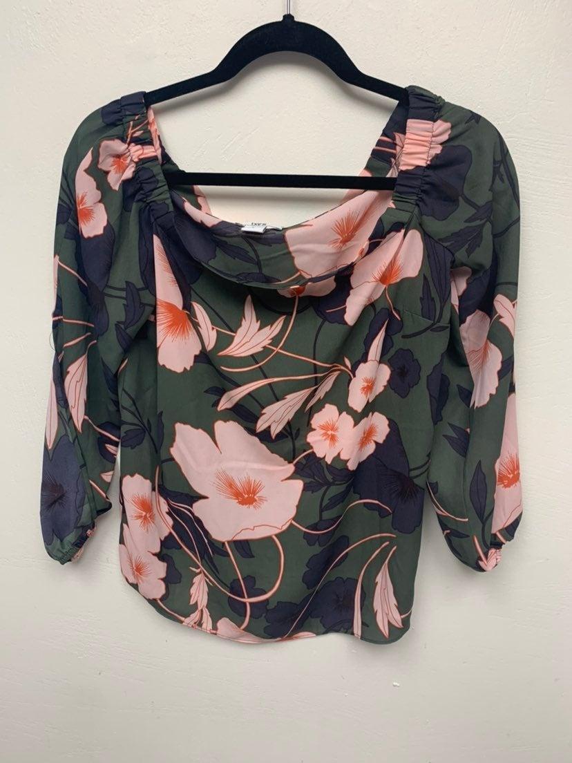 Green floral off the shoulder blouse