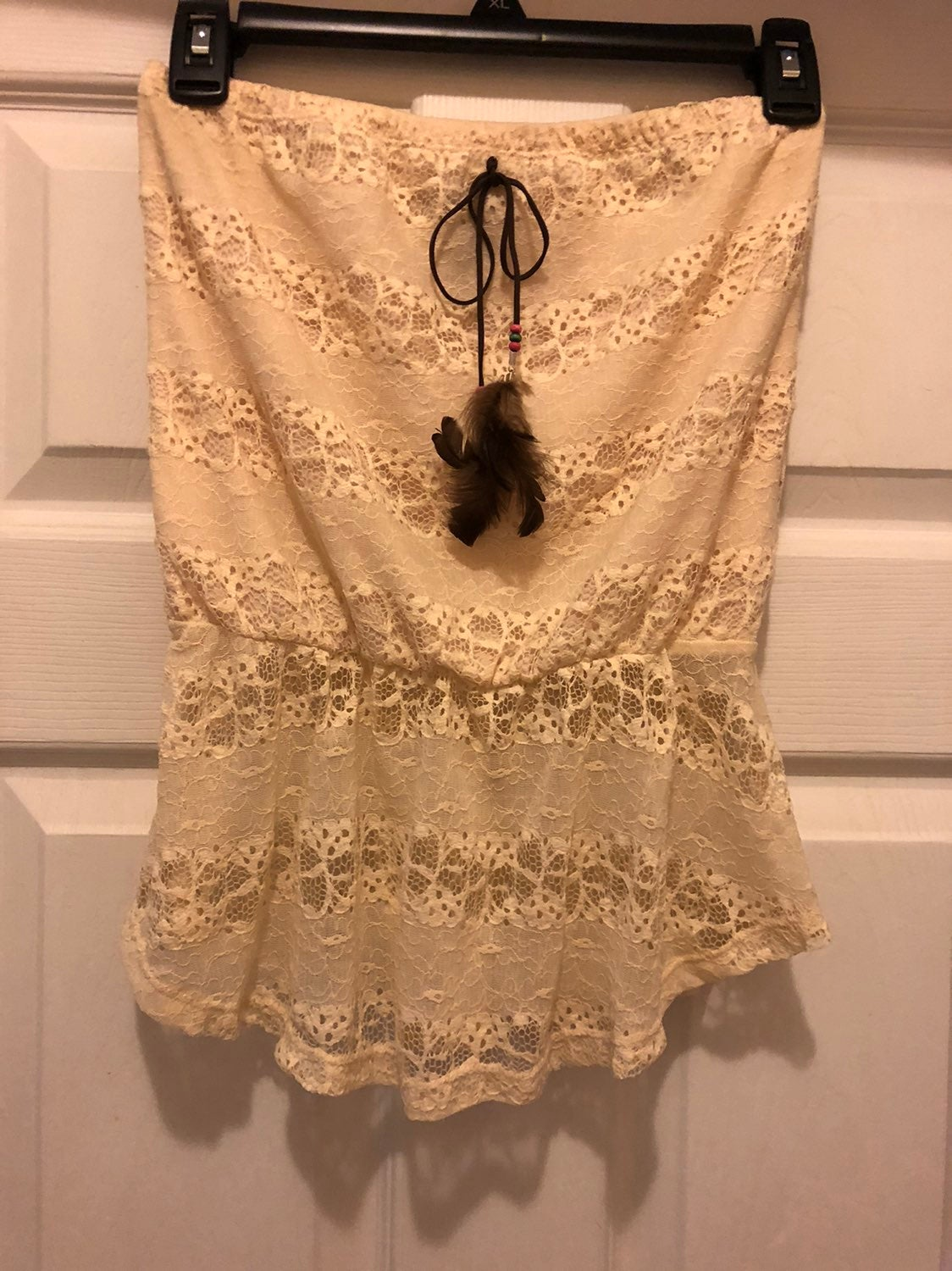 Wet Seal Lacy top with feathers size S
