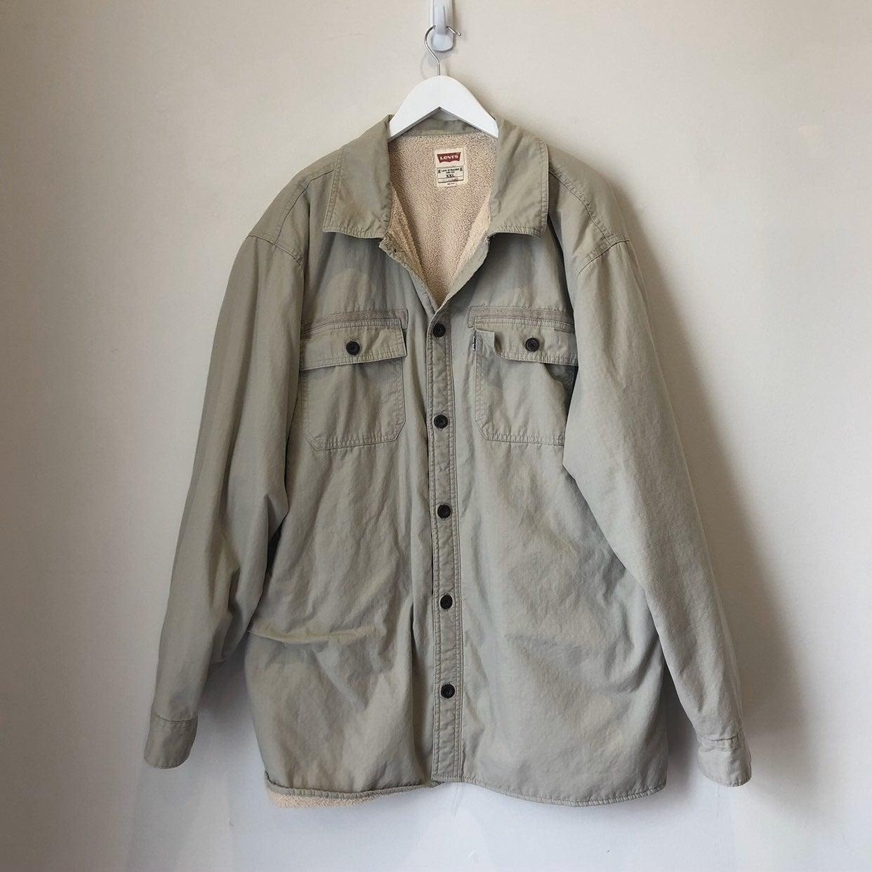 Levi's Men Khaki Button Up Fleece Jacket