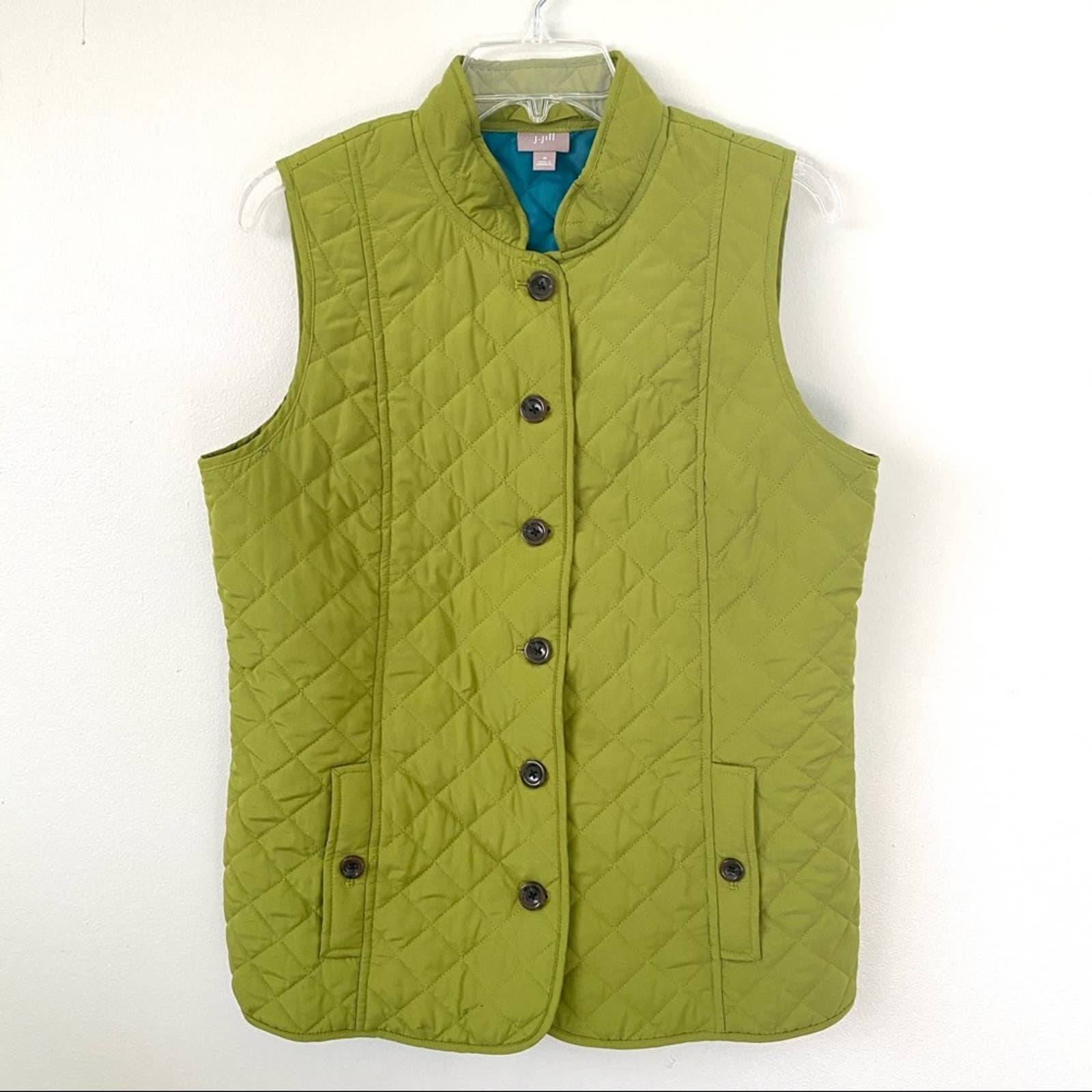 J.Jill Quilted Button Up Vest Green Med