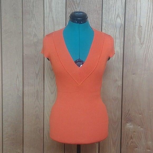 Orange Cap Sleeve Ribbed Knit Tunic Top