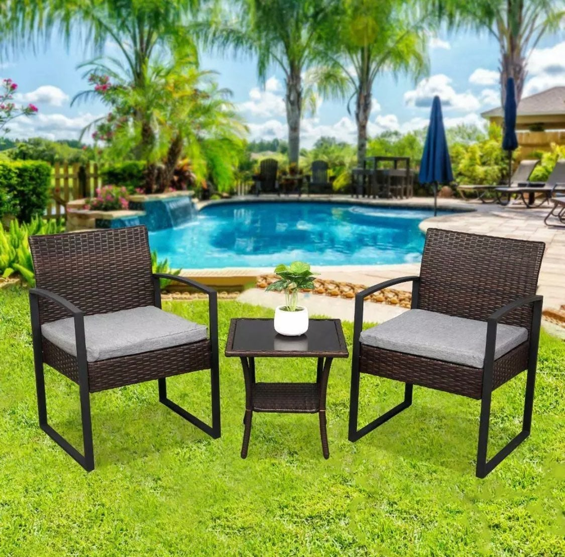 Premium Rattan Wicker Patio Chair Set