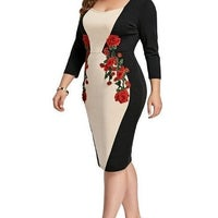 b0e1d576367 Plus Size dress with Floral imprint