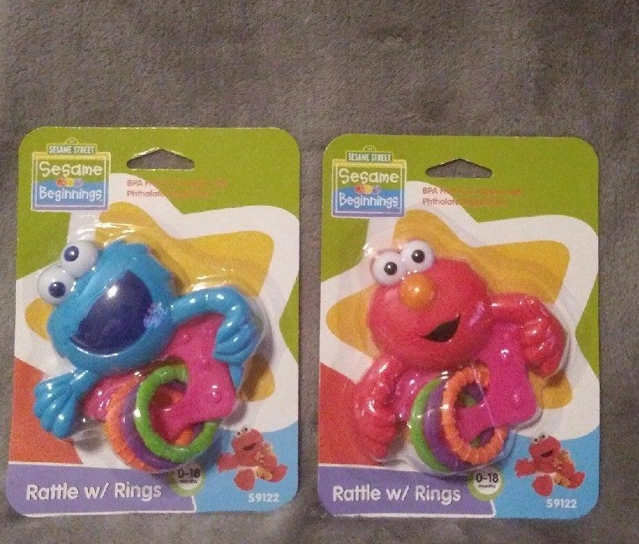 2 pack Sesame Street Rattle w/ Rings