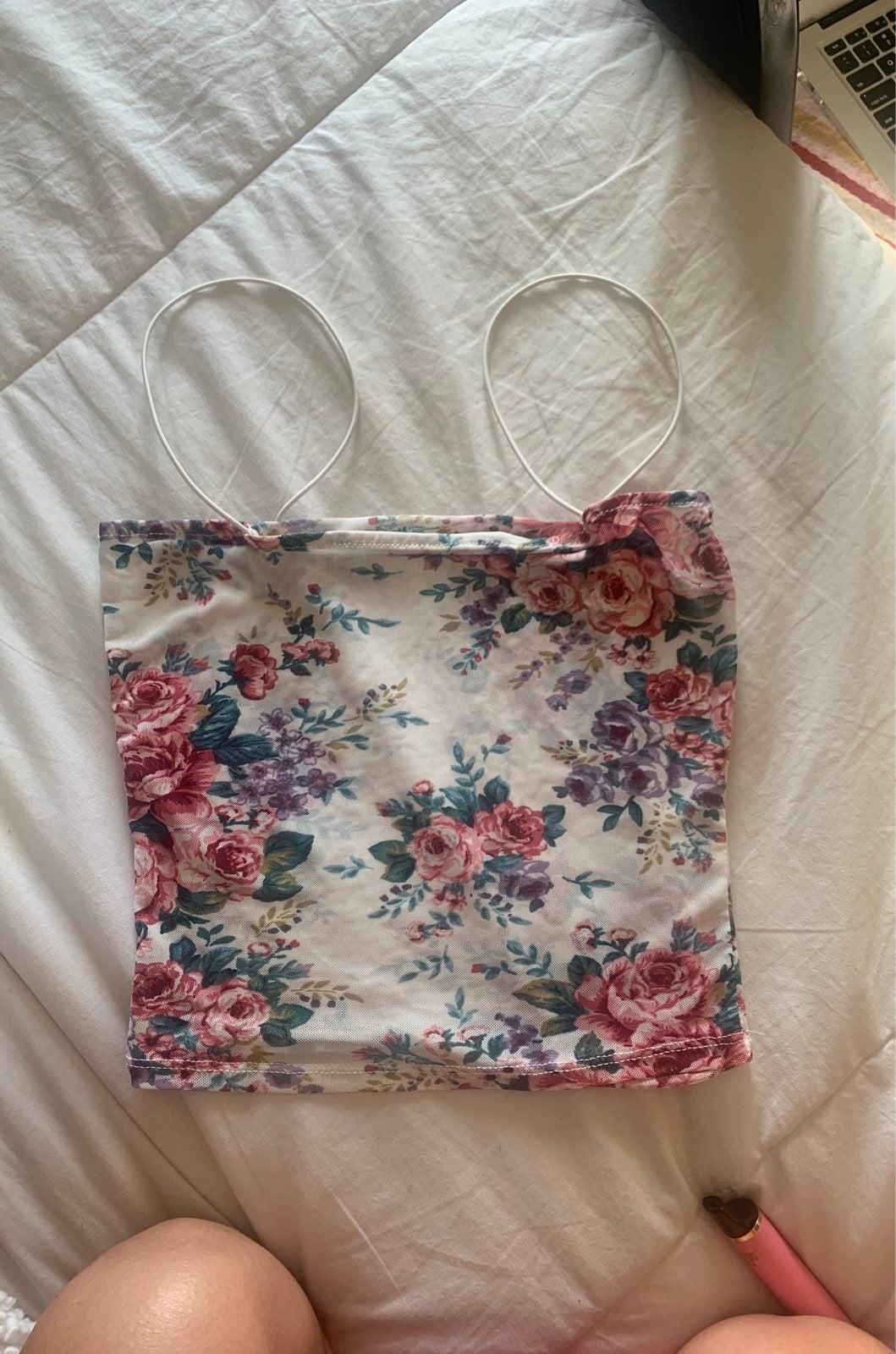 Mesh Floral String Crop Top