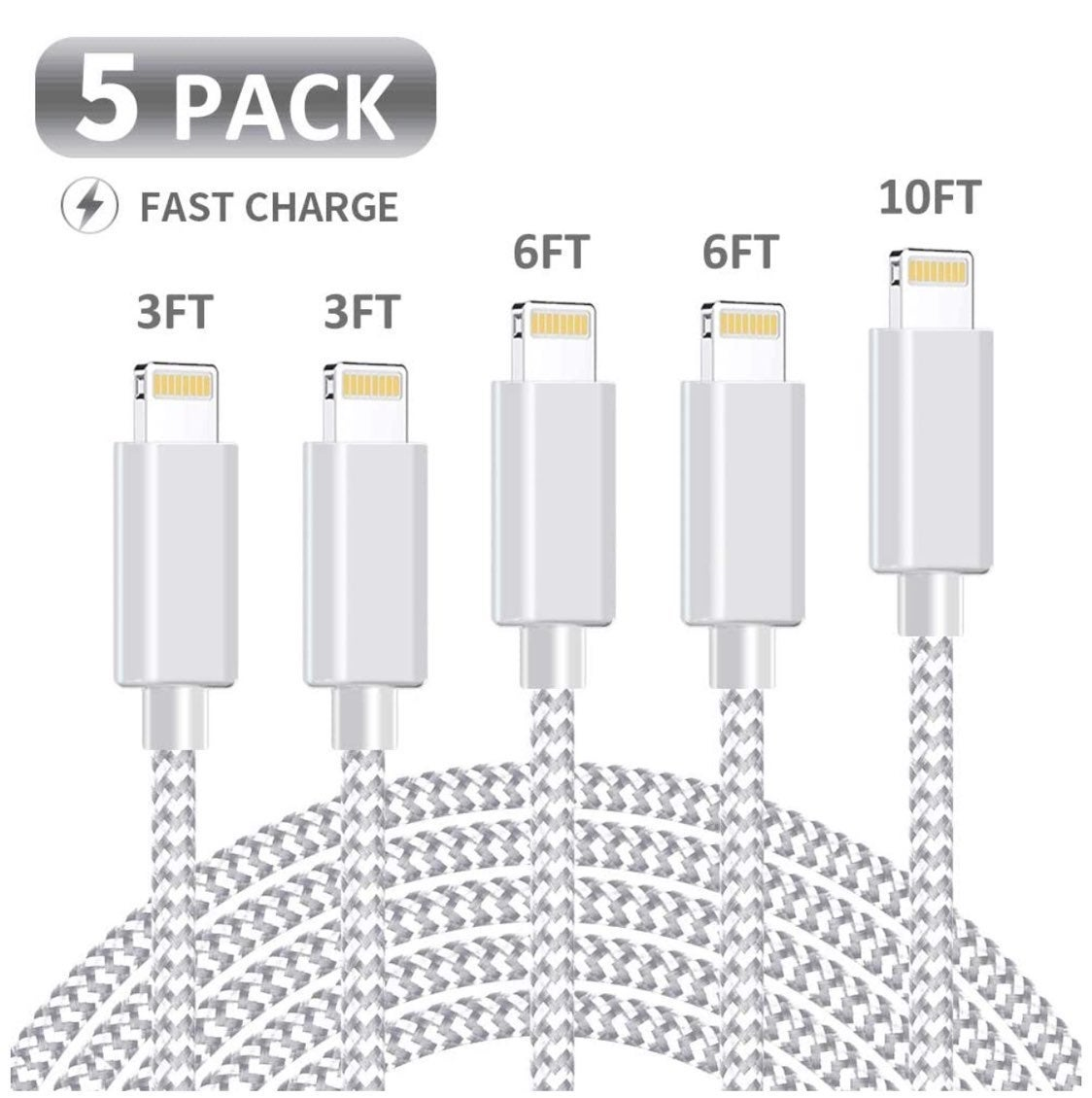 Five Iphone chargers