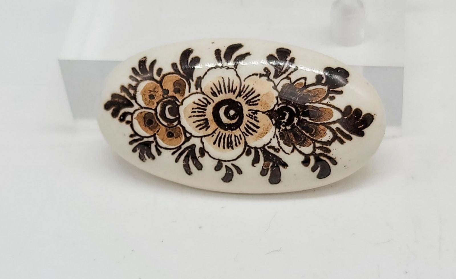 Vintage Holland Floral Porcelain Brooch