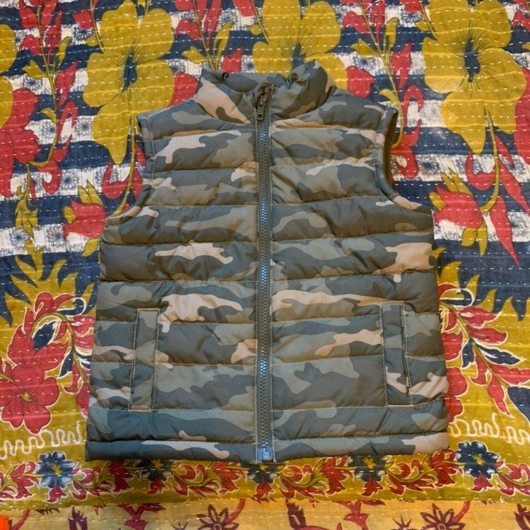 camouflage puffer vest