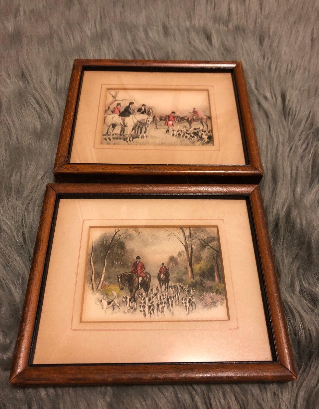 Antique Fox Hunt Watercolor Pair
