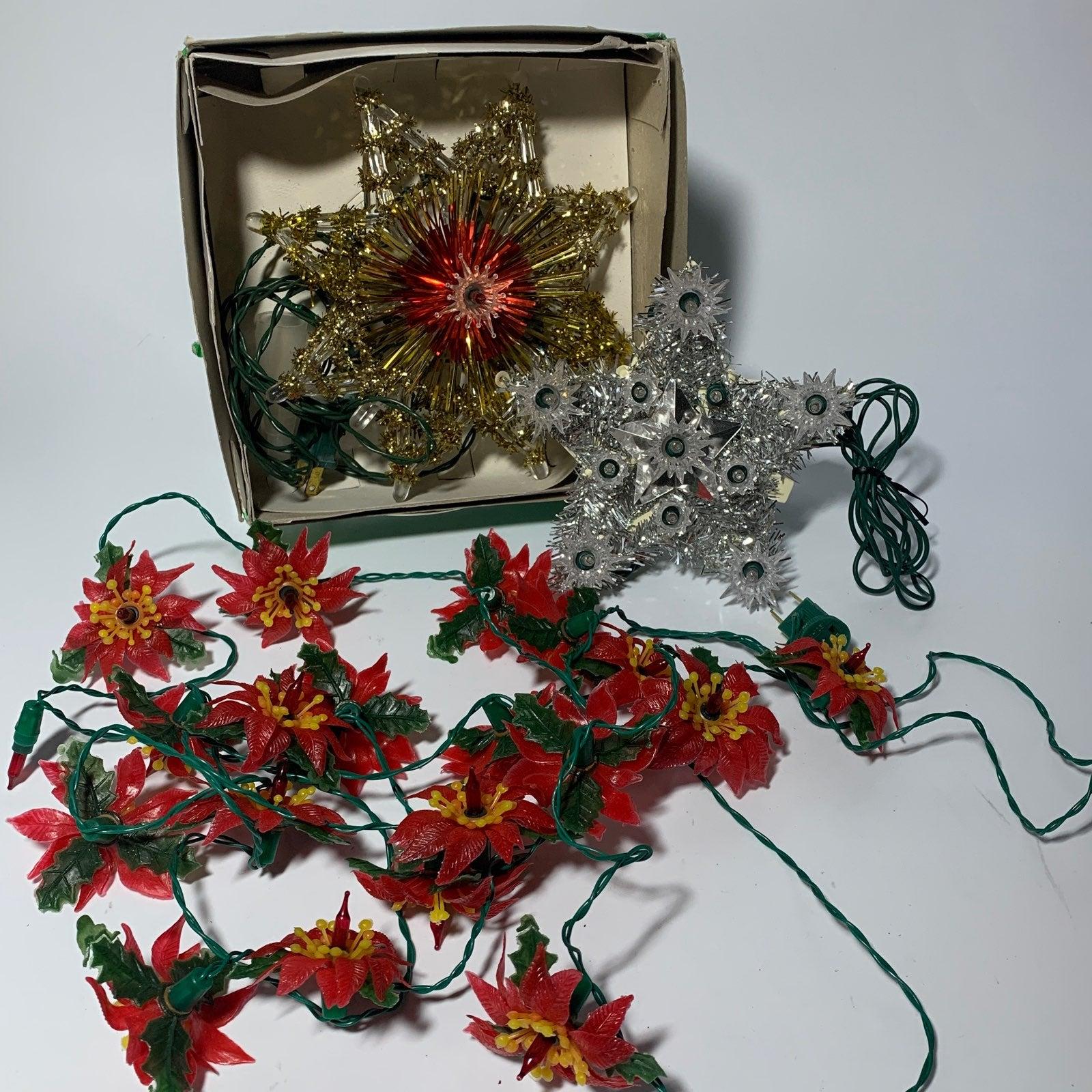 Vtg Xmas Lights Poinsettia 2 Star Topper