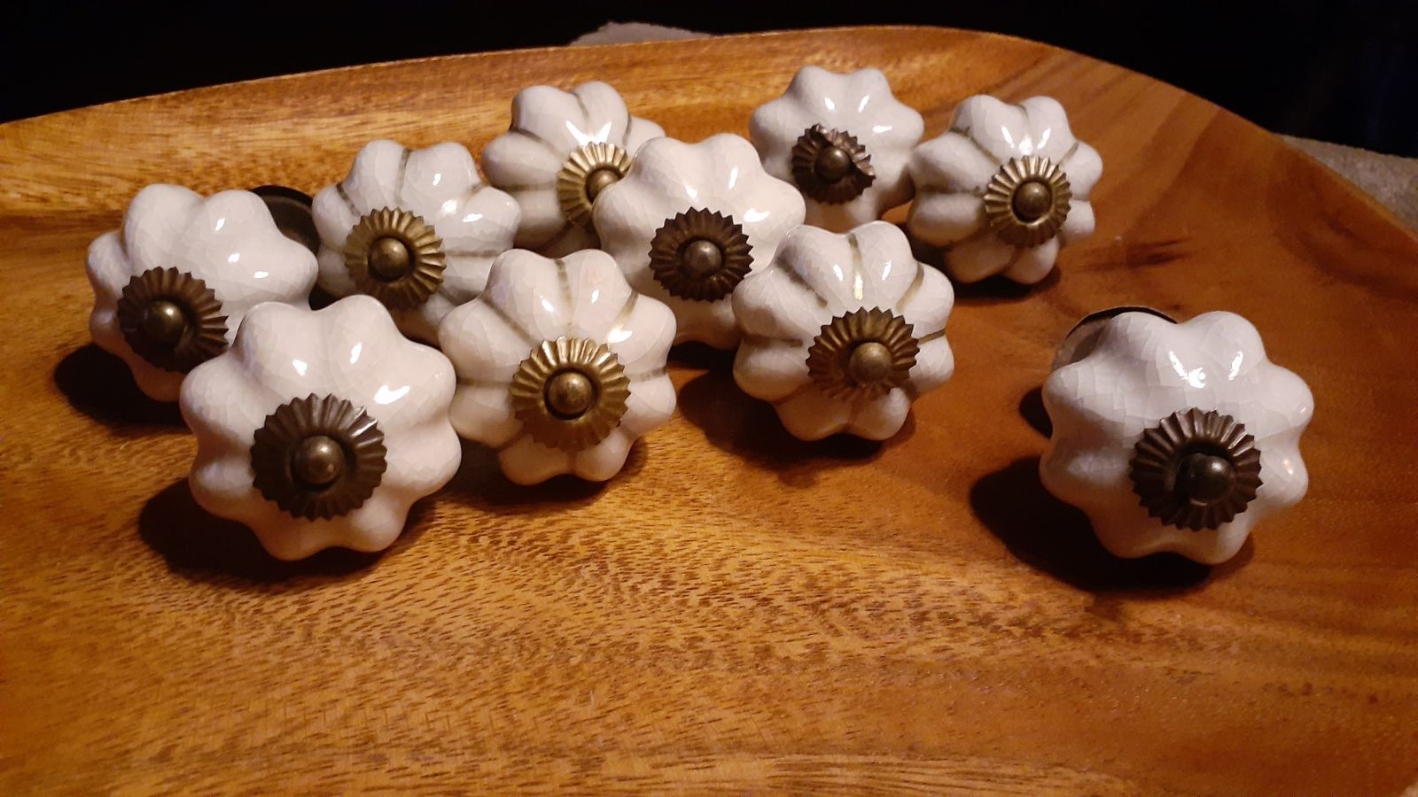 Ceramic and brass Set of 10 XL Knobs