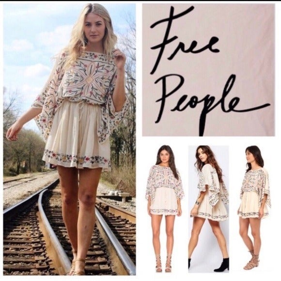Free People Embroidered Cream Dress Med