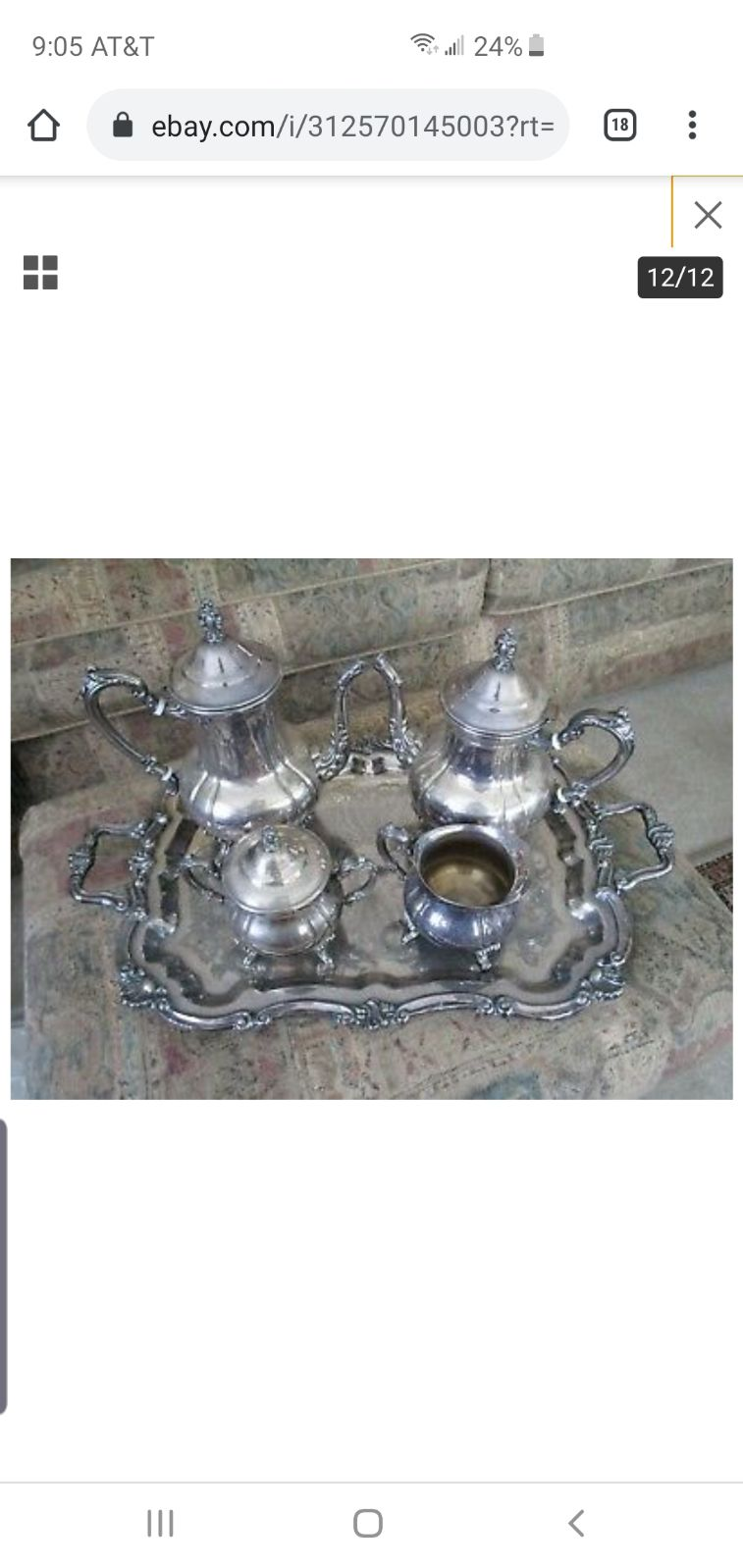 Towle antique silverplate teaset