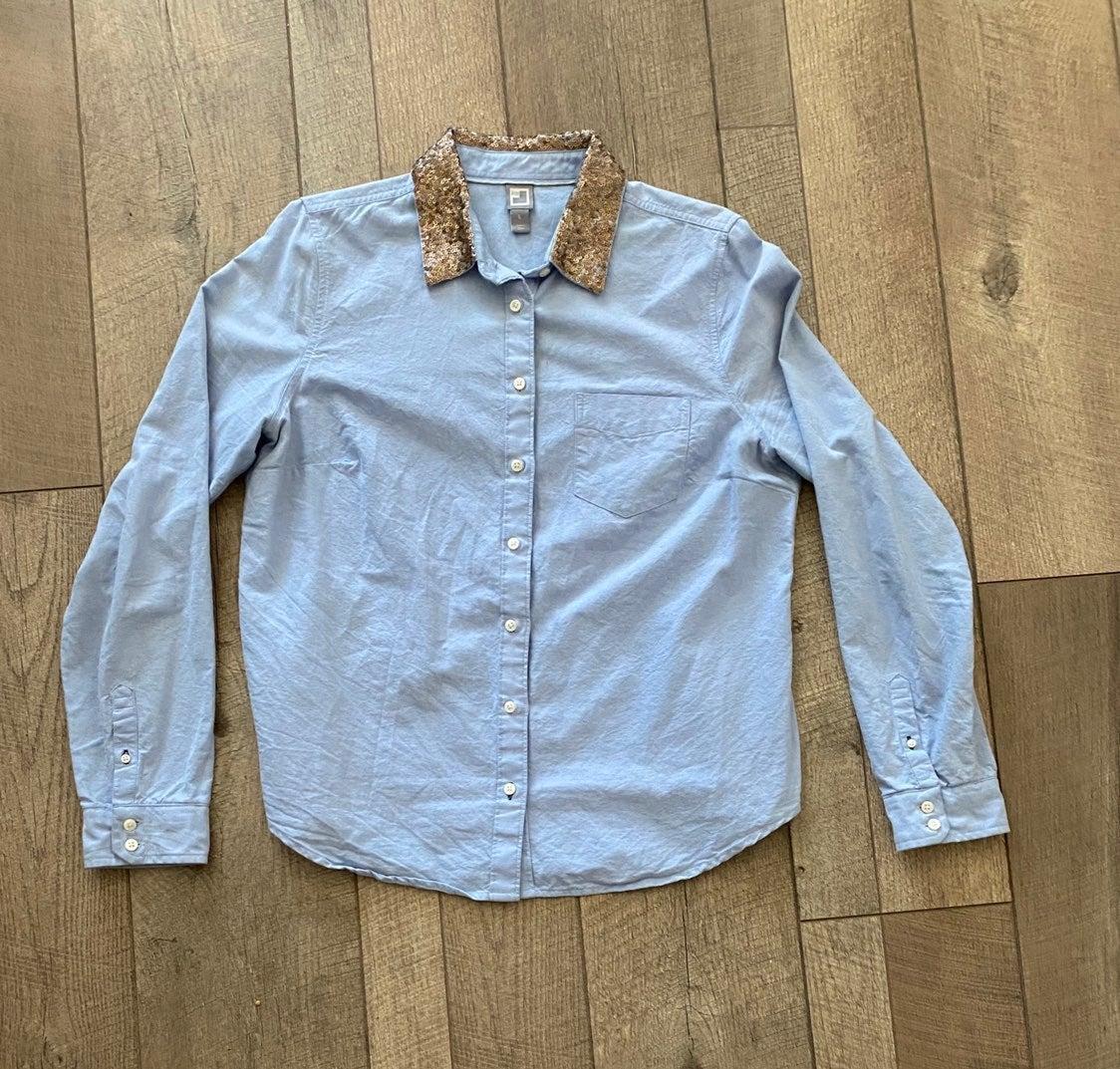 JC Penny Chambray Shirt Sequin Collar