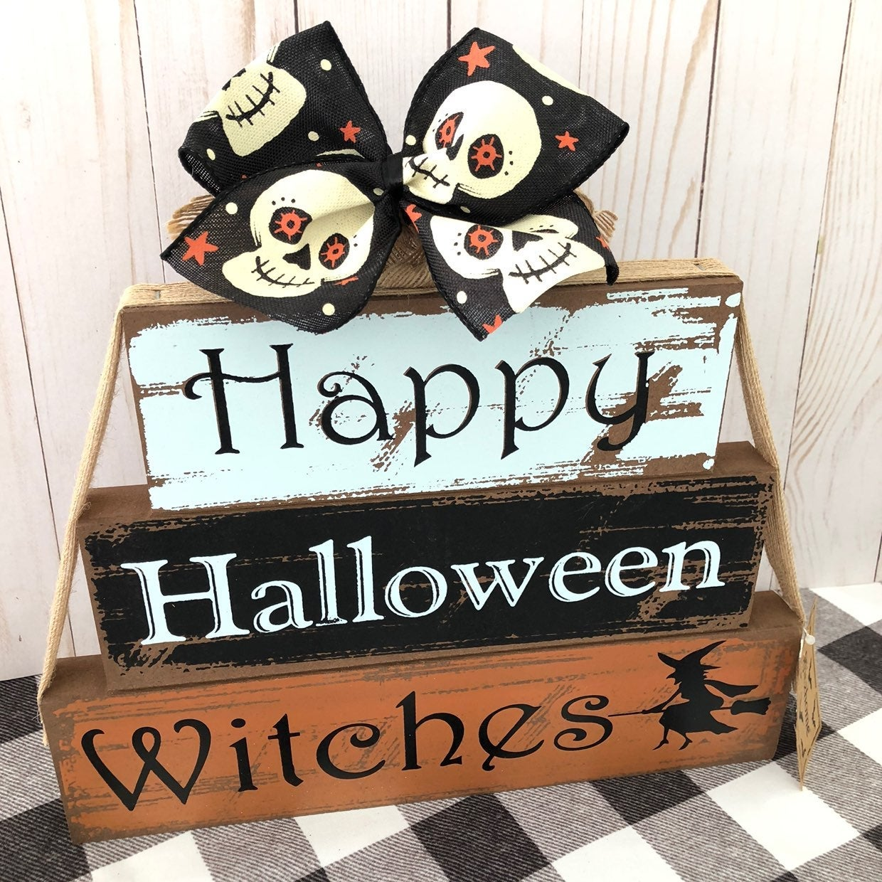 Happy Halloween Witches Wood Sign