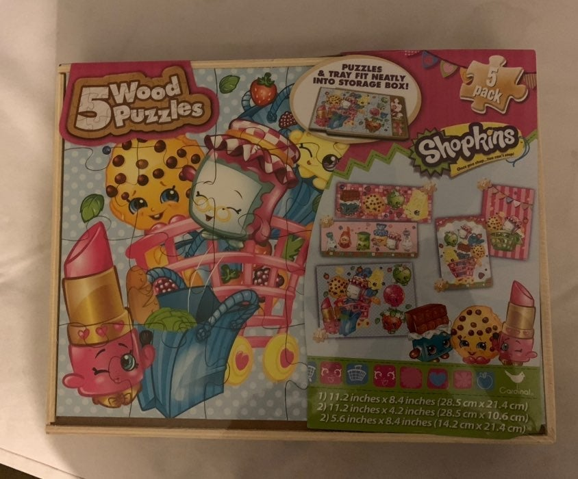 Shopkins 5 in 1 wooden puzzles