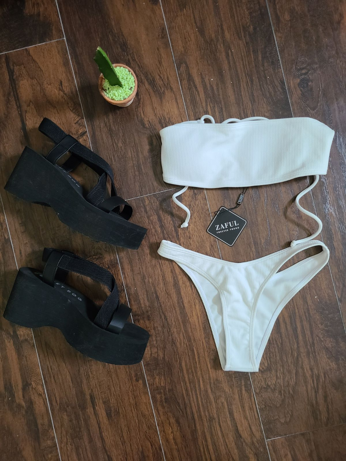 Zaful White Thong bikini size S