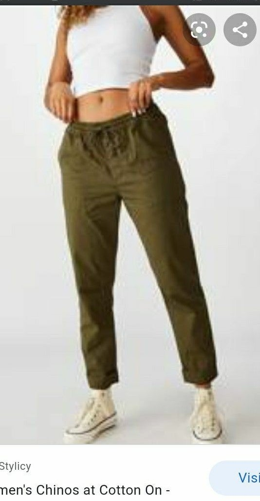 Cotton On rolled hem chino olive pants