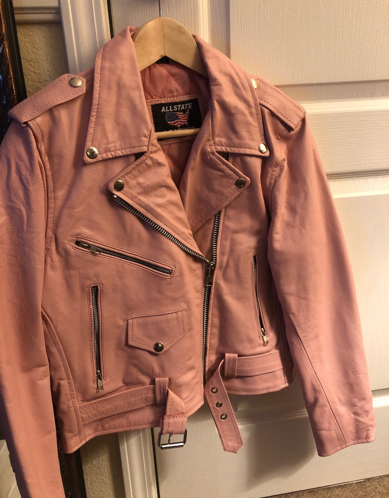 genuine pink Leather Jacket small