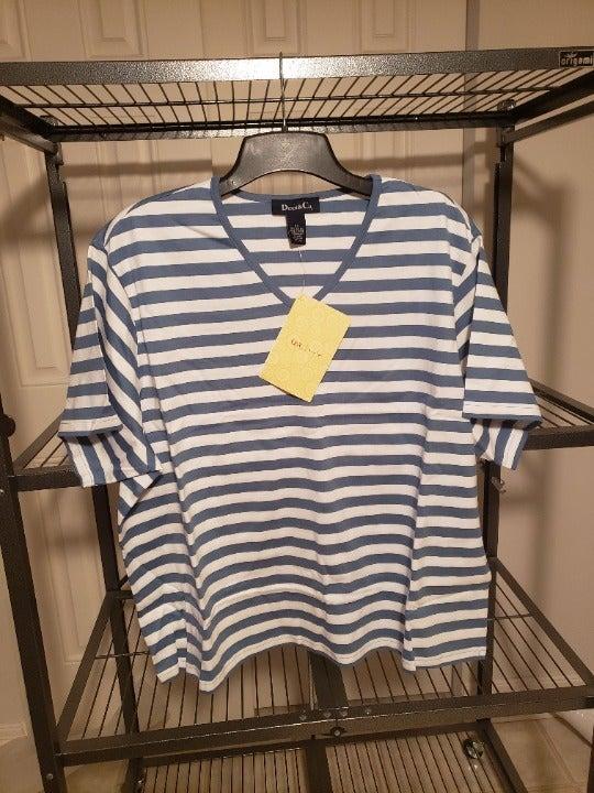 Denim & Co v-neck striped top NEW