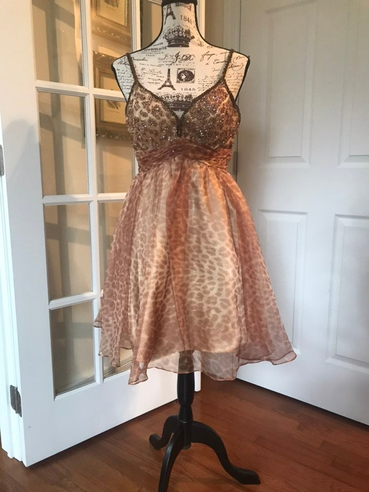 Sherri Hill Short Cheetah & Beaded Dress