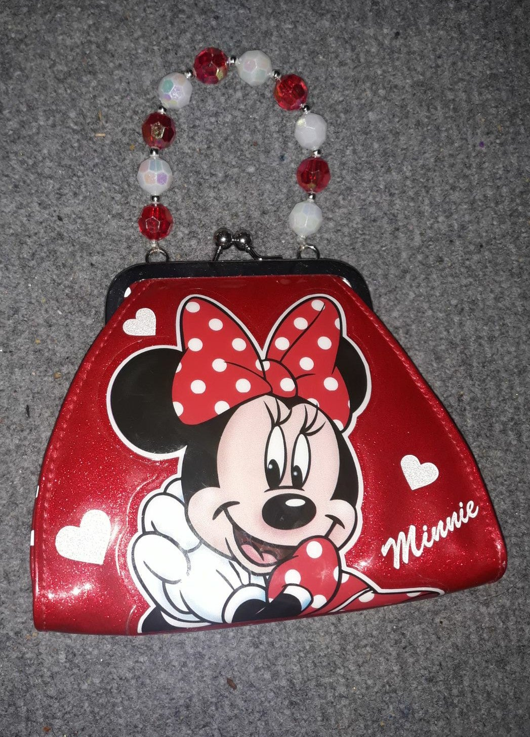 Minnie mouse polka dot red clutch
