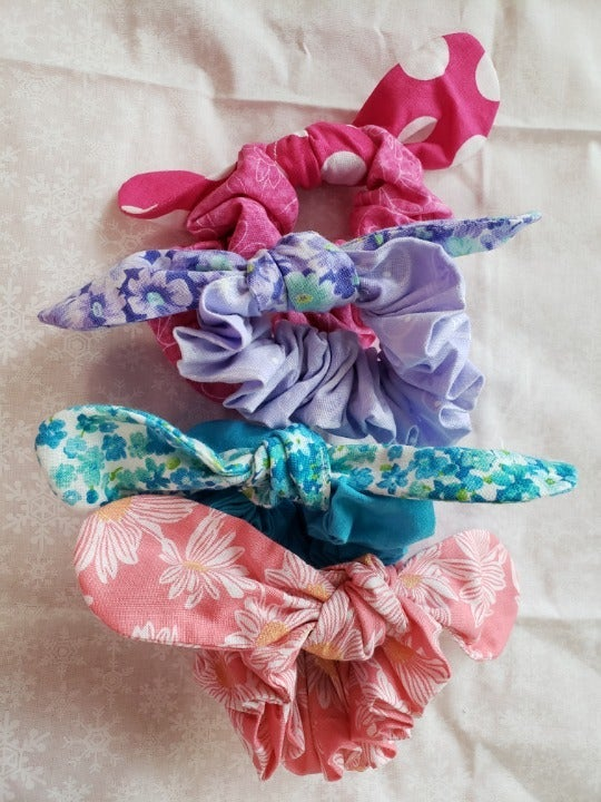 Homemade Bundle of 4 Hair Scrunchies