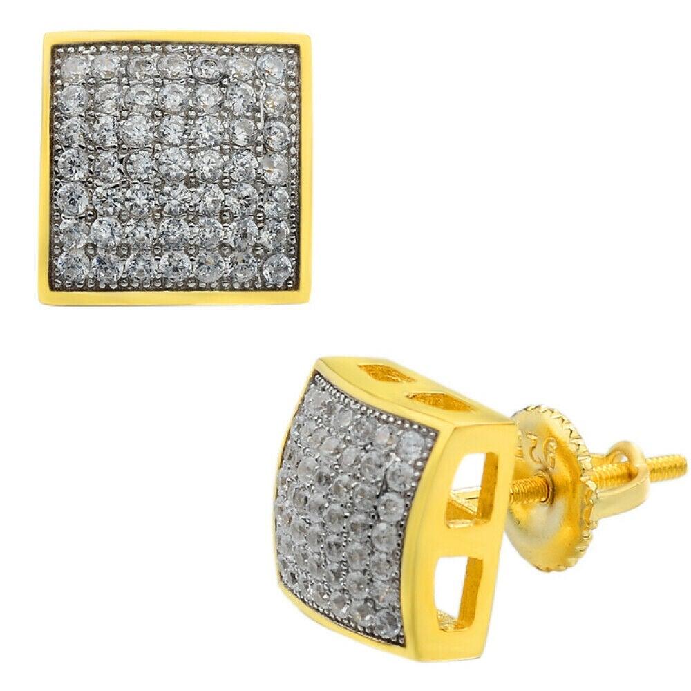 Men's Iced Gold Over 925 Silver Earrings