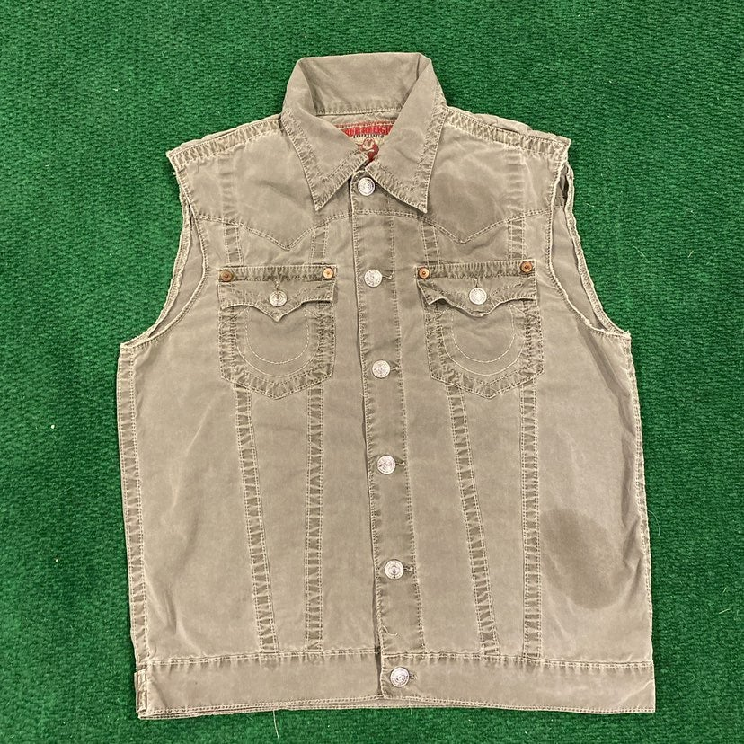True Religion Olive Green Vest