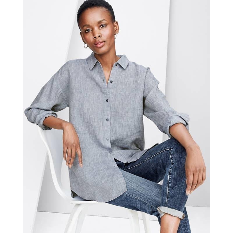Eileen Fisher Organic Linen Shirt M