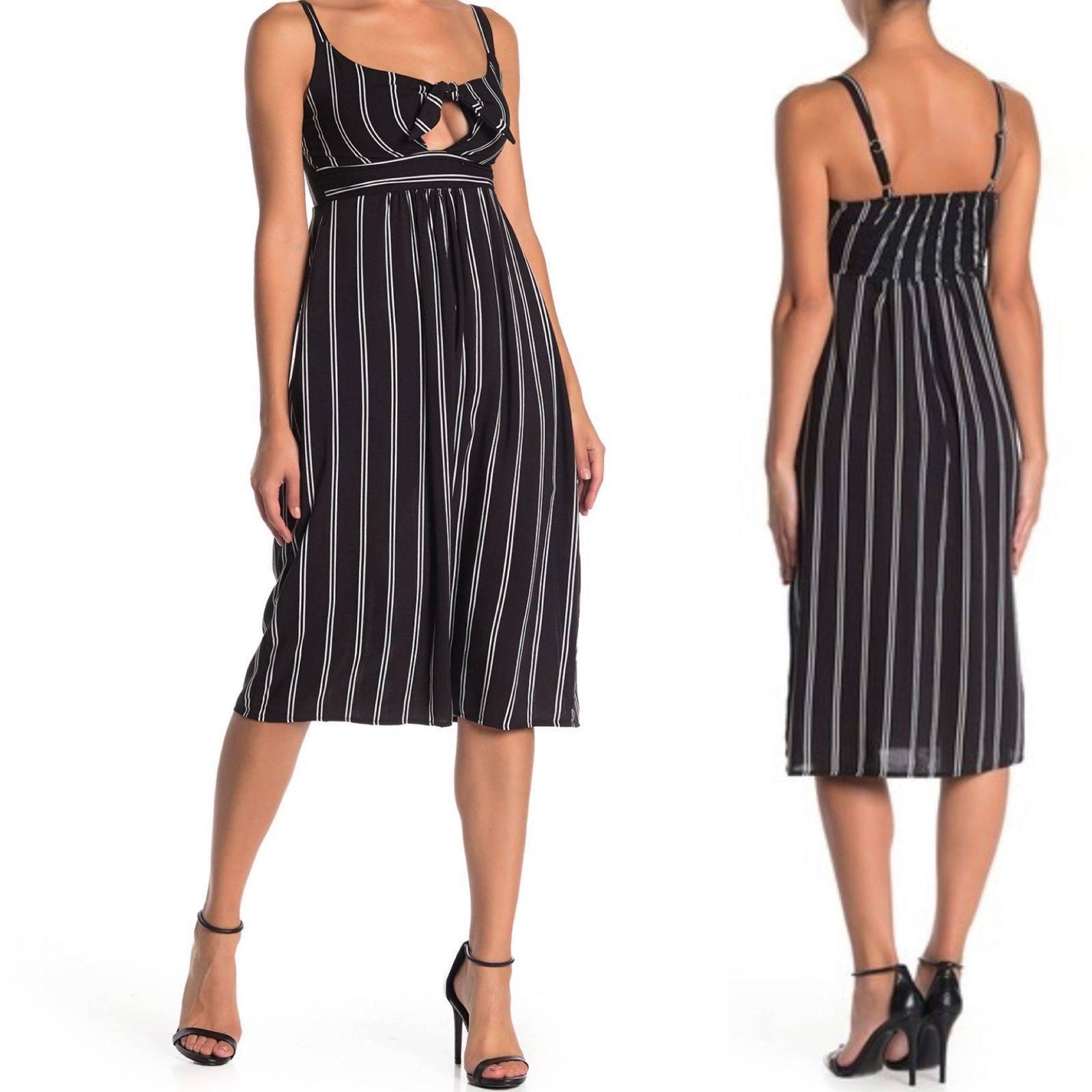 Velvet Torch Striped Tie Midi Dress