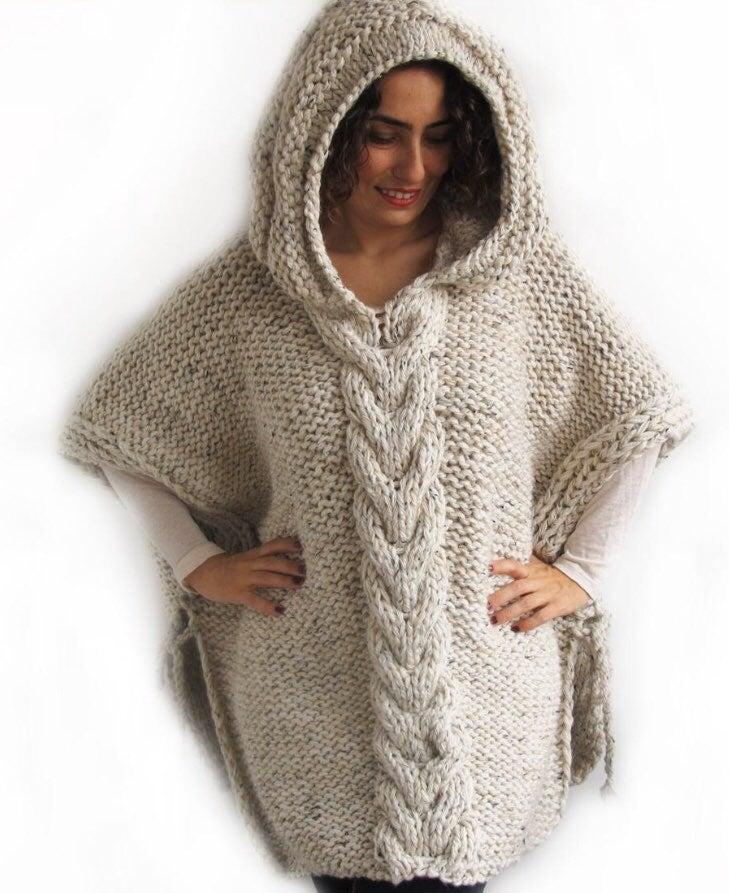 Hand knitted custom hooded poncho