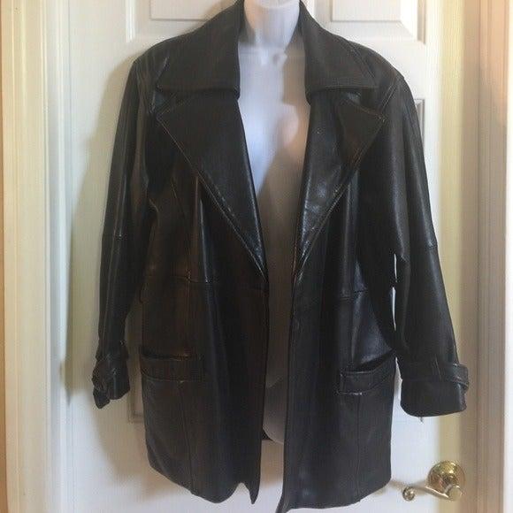 Long leather jacket coat