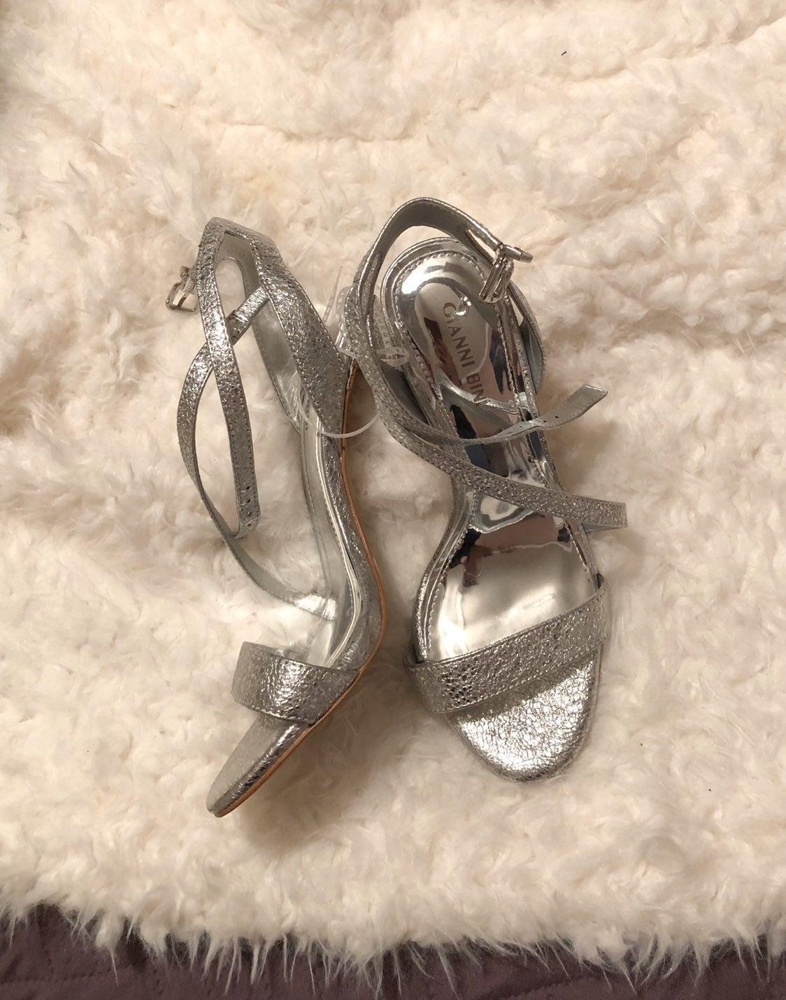 Gianni Bini Silver Strappy Sandal Heels