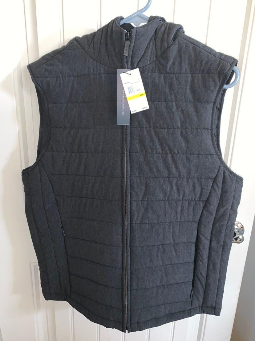 Grey Perry Ellis Hoodie Vest (Mens)