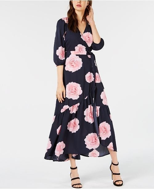 Bar III Floral-Print Flounce Wrap Dress
