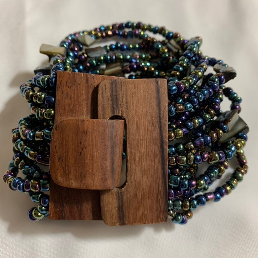 Peacock seed bead wooden buckle stretcha