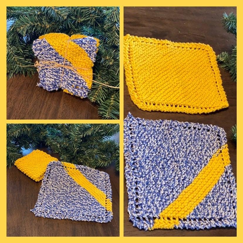 Hand Knit Dish Cloths, Set of 2