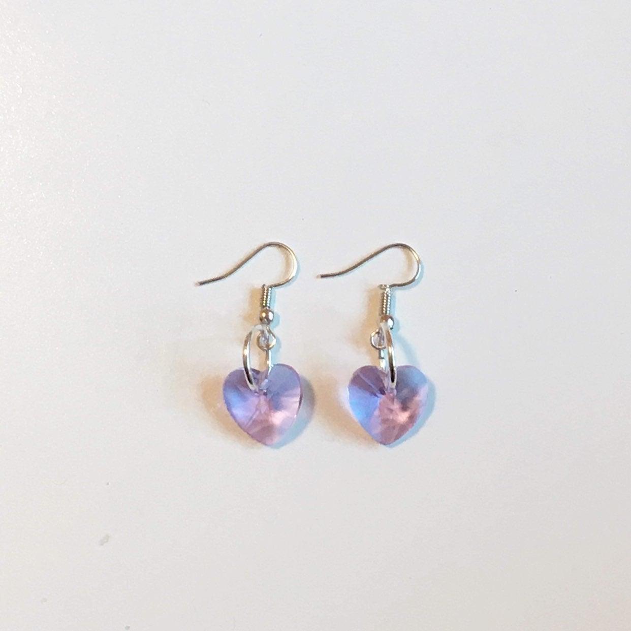purple heart crystal earrings