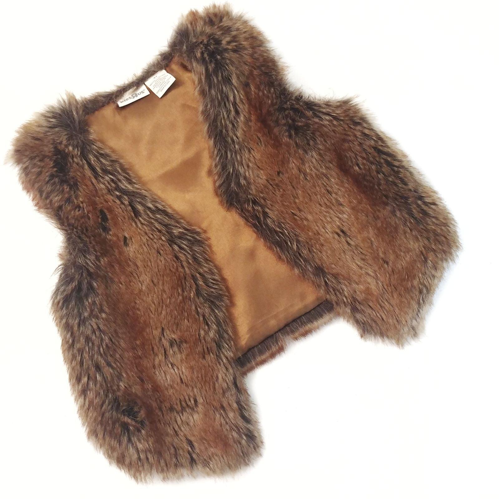 Girl's Faux Fur Vest Kids R Us Brown