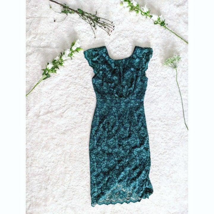 ABSAllen Short Sleeve Emerald Midi Dress