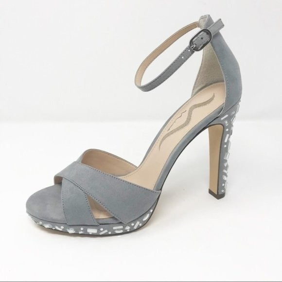 Nina jeweled gray faux suede sandals