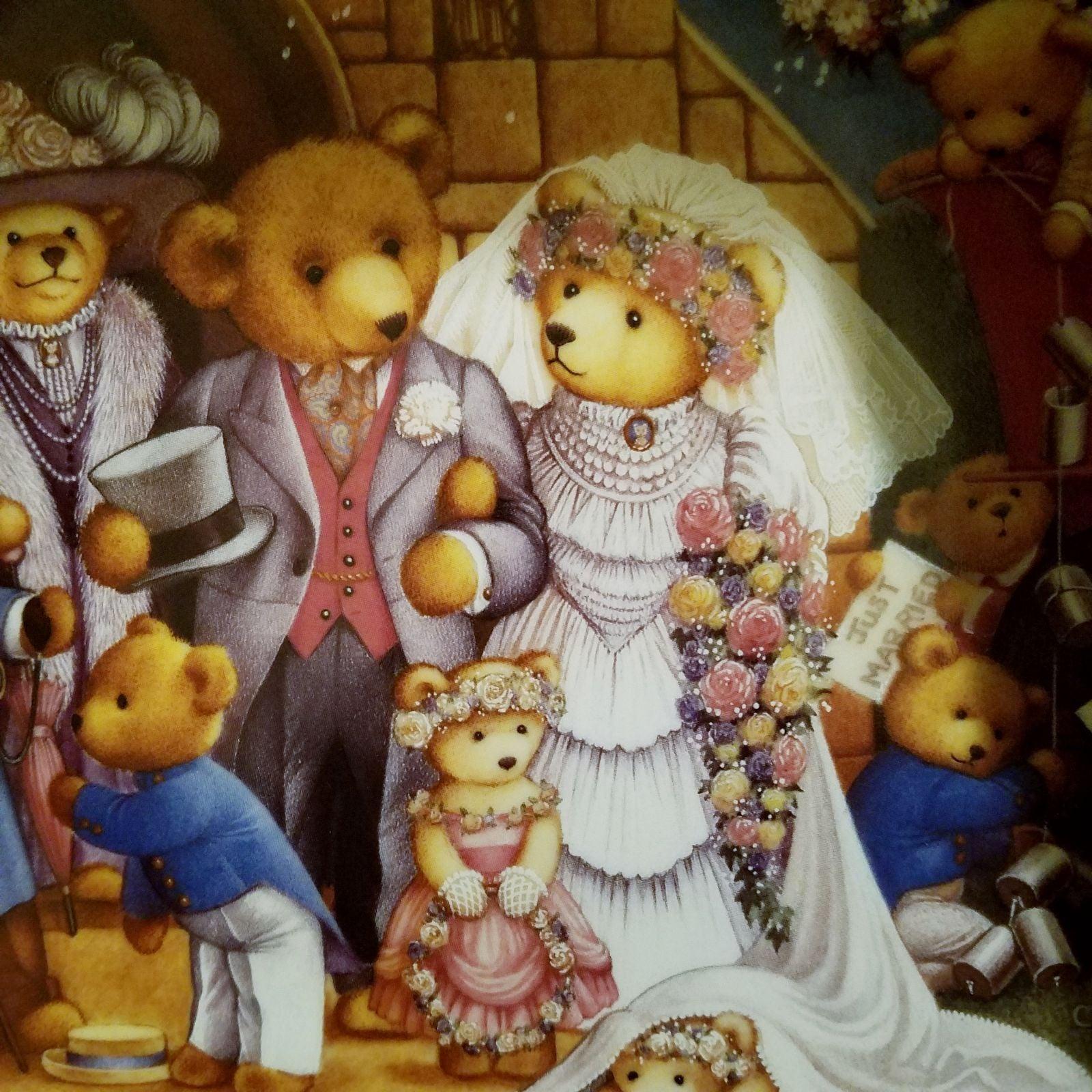 Franklin Mint plate, Teddy bear wedding